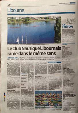 -140ème Anniversaire du Club Nautique de Libourne 1876/2016-Sud Ouest 11 novembre 2016-