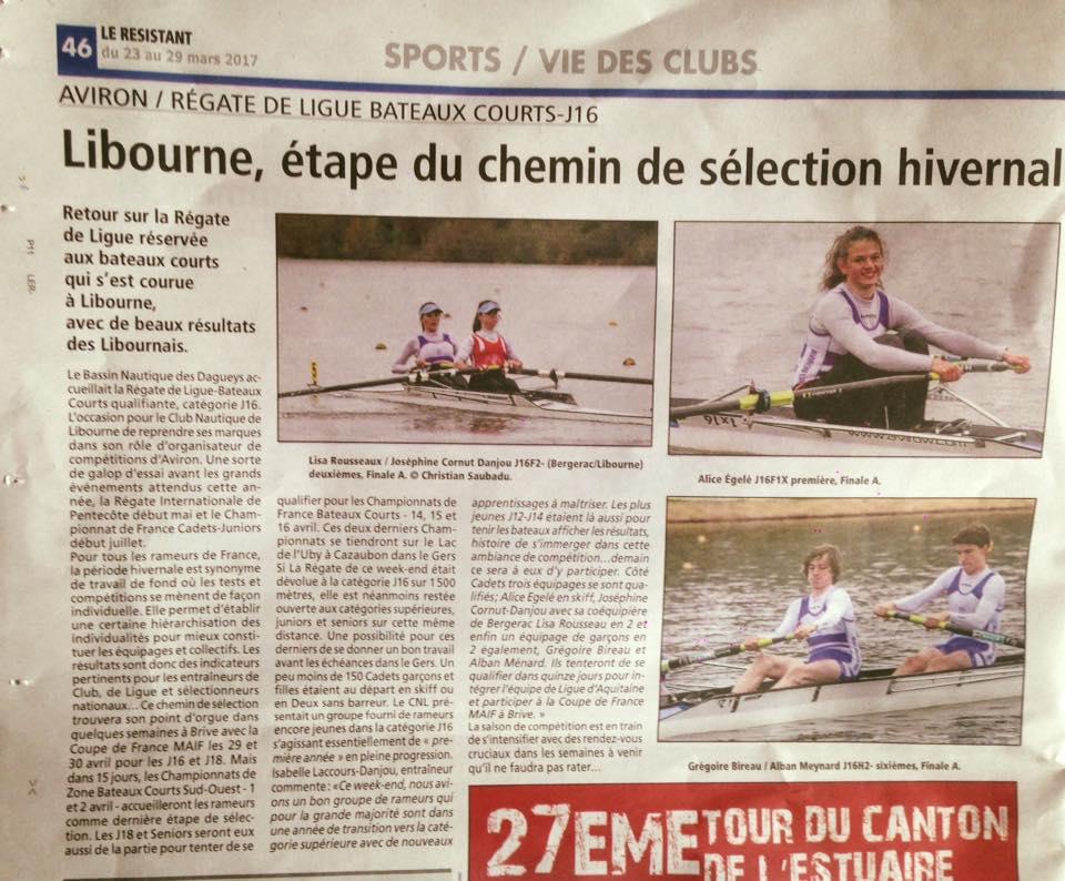 Régate de Ligue J16-Libourne-Revue de Presse-Le Résistant