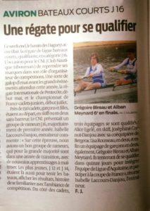 Régate de Ligue J16-Libourne-Revue de Presse-Sud Ouest-vendredi 24 mars-